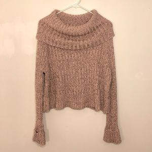 Free People Cropped Cowl Neck Pink Sparkle Sweater